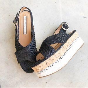 Zara Trafaluc Woven Strappy Platform Cork Sandals